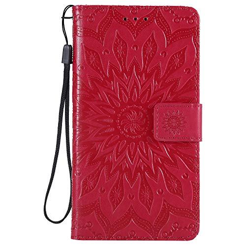 Jeewi Hülle für LG X Power 2 / M320N Hülle Handyhülle [Standfunktion] [Kartenfach] [Magnetverschluss] Tasche Etui Schutzhülle lederhülle flip case für LG X Power2 - JEKT031850 Rot