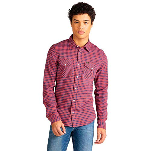 Lee Clean Western Shirt Camisa Casual, Rojo (Poppy Red NH), X-Large para Hombre