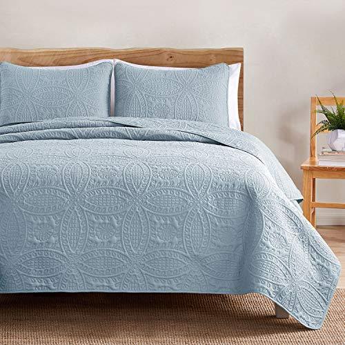 VEEYOO Bedspread Quilt Set Twin Size - Soft Microfiber Lightweight Coverlet Quilt Set for All Season, Quilt Set 2 Piece (1 Quilt, 1 Pillow Sham), Baby Blue
