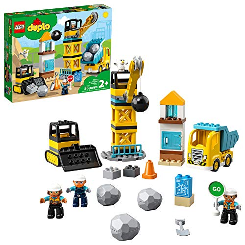 LEGO DUPLO Construction Wrecking Ball Demolition 10932 Toy for Preschool Kids; Building and Imaginative Play with Construction Vehicles; Great Developmental Gift for Toddlers, New 2020 (56 Pieces)