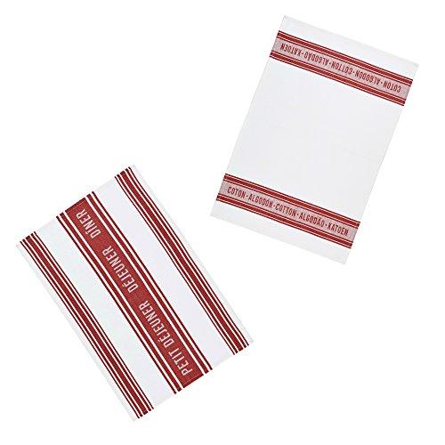 Kitchen Craft Textiles French-Style 100% Cotton Jacquard Tea Towels, 70 x 47 cm-Red/White (Set of 2), 46 x 0,1 x 69,5 cm