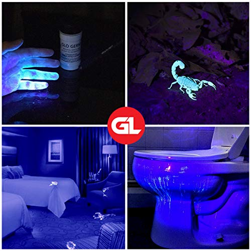 GearLight UV Black Light Flashlight S100 [2 Pack] - Mini Blacklight Ultraviolet Pen Lights for Leak and Hotel Inspection - Pet Urine, Bed Bug, Scorpion, Stain, and Dye Detector