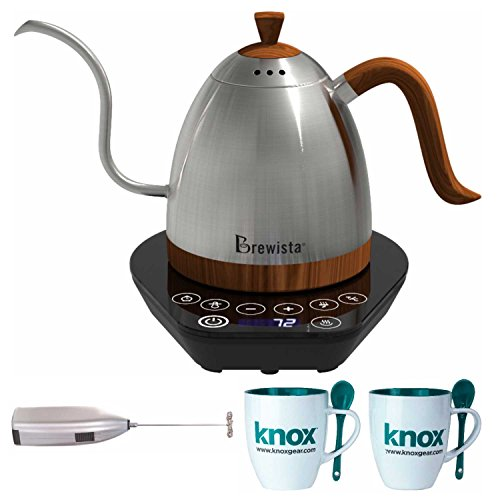 Brewista BA6VKETLS Artisan Gooseneck Variable Kettle, 600ml, Stainless Steel Includes Two Mugs with Spoons and Handheld Milk Frother