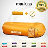 Mockins Saffron Inflatable Lounger Air Sofa Perfect for Beach Chair Camping Chairs or Portable Hammock and Includes Travel Bag Pouch and Pockets | Easy to Use Camping Accessories