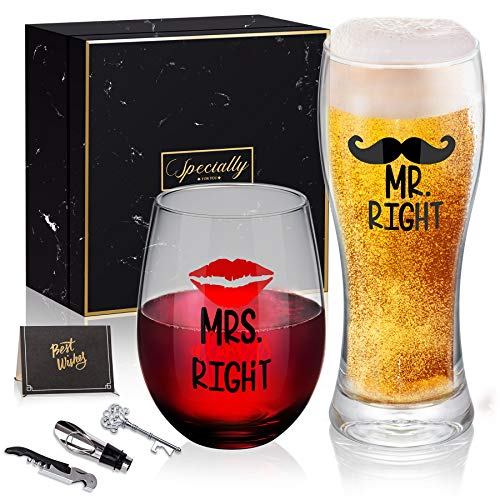 Mr Right and Mrs Always Right Novelty Wine Glass and Beer Glass Combo, Funny Wedding Gifts for Bride Groom, Christmas, Anniversary, Valentines, Engagement Gift for Couples Her Him Newlywed Couples