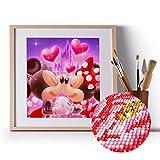 Yisscen DIY 5D Kit de Pintura de Diamantes Número, Mickey Minnie Mouse Completo Bordado Punto de Cruz Artes para Decoración de la Pared del Hogar Manualidades