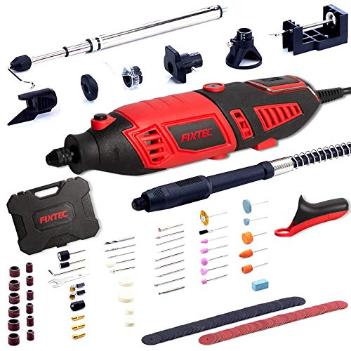FIXTEC Professional Rotary Tool Kit with Heavy Duty 170W/1.4A Electric Motor, Universal 3-Jaw Chunk, 10 Attachments, 125 Accessories & Storage Case Included