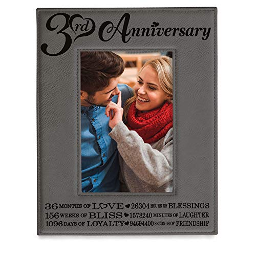 KATE POSH - 3 Years Together (2016-2019) Engraved Leather Picture Frame, 3rd Anniversary for Boyfriend, Girlfriend, 3 Years as Husband and Wife, 3 Years of Marriage, Gifts for Couple (5x7-Vertical)