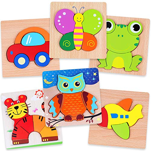 Yunaking Puzzles for Toddlers, Wooden Jigsaw Puzzles Montessori Toys for 1 2 3 Years Old Boys and Girls, Kids Wooden Puzzles Early Educational Toys Gift
