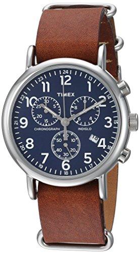Timex Weekender Chrono Quartz Analog Watch with Leather Strap, Brown, 20 (Model: TW2R63200)