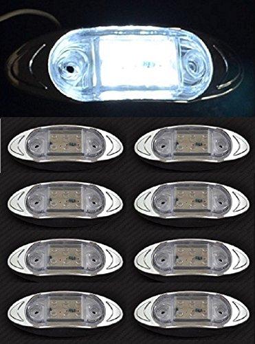 Lot de 8 feux de gabarit latéraux avant blancs avec lunette en plastique chromé pour camion, caravane, remorque, camping-car, bus, van, usage extérieur ou intérieur.