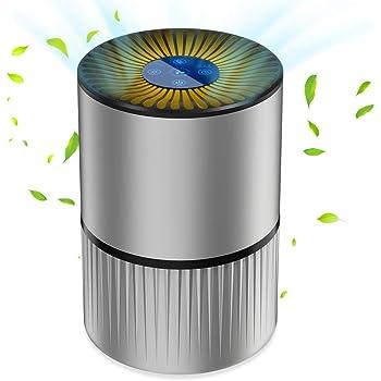 Luftreiniger Air Purifier Ionisator mit HEPA-Kombifilter 5-Stufen-Filterung mit 99,97% Filtrationsleistung mit LED, Perfekt gegen Staub und Haustier-Allergene, für Allergiker, Raucher, Asthma