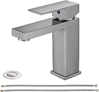EZANDA Brass Single Handle Bathroom Sink Faucet, Lavatory Vanity Faucet with Escutcheon, Pop Up Drain Stopper & Water Supply Lines, Brushed Nickel, 14166
