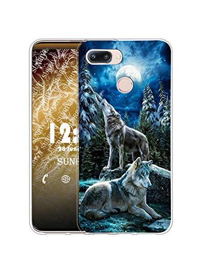 Sunrive Kompatibel mit Huawei nova 2 Plus Hülle Silikon, Transparent Handyhülle Schutzhülle Etui Hülle (Q Wolf 1)+Gratis Universal Eingabestift MEHRWEG