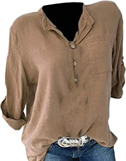 WSPLYSPJY Women's V Neck Roll Sleeve Solid Pocket Top Button Down Blouse