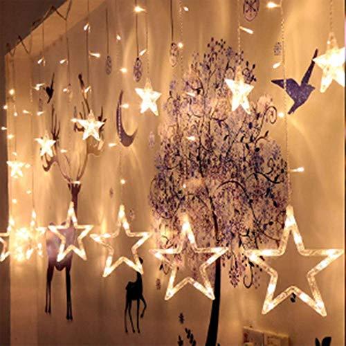 Goedkope decoratieve verlichting voor de kamer fonkelende sterren 12 sterren 138 LED-gordijn lichtsnoer voor Kerstmis, bruiloft, party, hoofddecoratie.