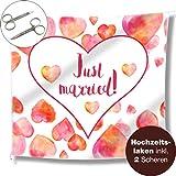 WeddingTree Hochzeitsherz zum Ausschneiden und 2 Scheren - Just Married Hochzeitslaken - Spiel für das Brautpaar - Fotomotiv Deko (Aquarell)