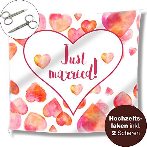 WeddingTree bruiloftshart om uit te knippen en 2 scharen, Just Married bruiloftslaken, spel voor het bruidspaar, fotomotief decoratie