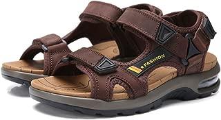 AUCDK Leather Adjustable Touch Fasten Gladiator Summer Sandals Men Strap Sandals Air Cushion Sandal