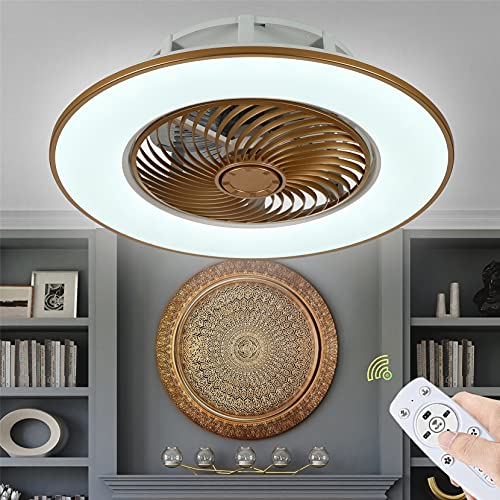 OMGPFR Ventiladores de Techo con luz Regulable, Iluminación con App y Control Remoto Luces de Techo con Ventilador LED Invisibles Modernas Lámparas de decoración del hogar 14 cm Delgado,Metálico