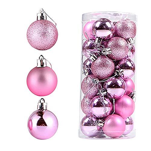 BBQQ 24Pcs Weihnachtskugeln Party Xmas Tree Dekorationen Hängende Verzierung 4CM, Weihnachtsdekorationen Clearance Baum Ornamente Rock Topper Lichter Pyjamas für die Familie