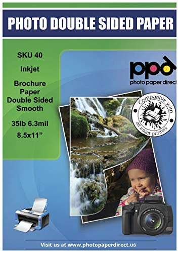 PPD Inkjet Matte Double Sided Ultra Smooth Brochure Flyer Photo Quality Paper LTR 8.5x11'' 35lbs. 130gsm 6.3mil x 100 sheets (PPD040-100)