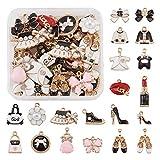 Craftdady - 38 ciondoli a tema abbigliamento, smaltati, a forma di scarpa, rossetto, borsa, cappello, scarpe con tacco alto, ciondoli da donna per la realizzazione di orecchini, collane e bracciali