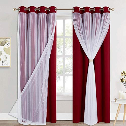 PONY DANCE Sheer Overlay Blackout Curtains - Room Darkening Curtains and Sheer Layered, Grommet Draperies for Living Room Window Decoration with Extra Tiebacks (W52 x L84 inch, Red, Set of 2)