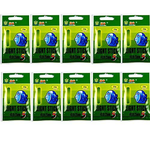QualyQualy Knicklichter zum Angeln Posen & Sbirolinos, Angelzubehör Nachtfischen Grün Fluoreszierendes Licht Angeln Leuchtstäbe 25mm 37mm 50mm 75mm 10 Packungen (10 Packungen 3,0 * 25 mm)