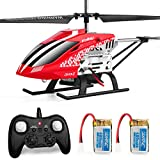 Helicopter with Remoter Control, JJRC 3.5CH Rc Helicopter Altitude Hold Helicopter with 2 Batteries for Kids,Gryo 2.4GHz and LED Light for RTF Crash Resistance Helicopter RC Drone Toy Gift (red)
