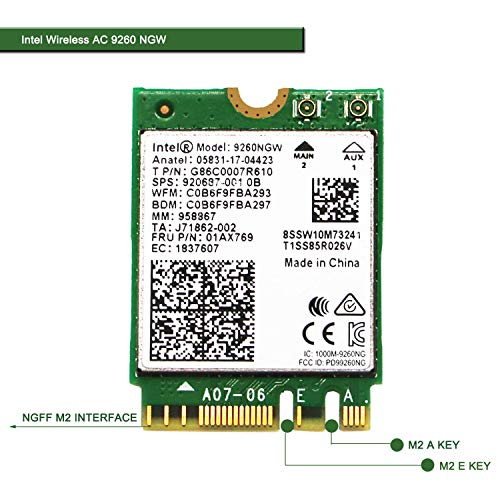 Wireless Network Adapter for Laptop and Desktop PCs–NGFF M2 2230 Wi-Fi Card-2.4GHz 300Mbps or 5GHz 1733Mbps(160MHz) Bluetooth 5.0-Dual Band Wireless Bluetooth Adapter Intel Wireless-AC 9260 NGW
