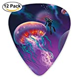 Diver With Giant Jellyfish Magical Underwater World Artisan Guitar Picks 12/Pack Set