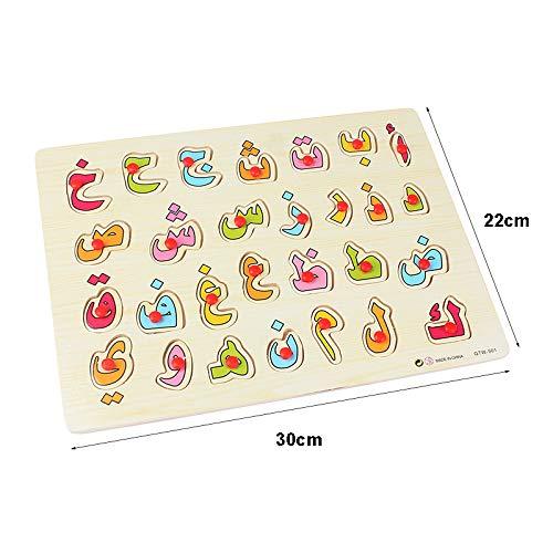 Aisoway Holz arabisches Alphabet 28 Buchstaben Puzzles frühe pädagogisches Schnappen Puzzle Spielzeug