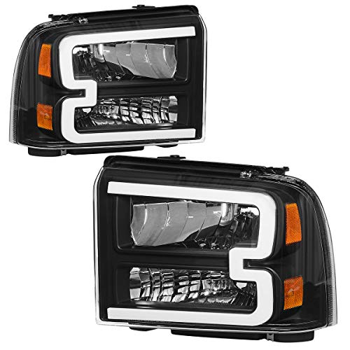 OEDRO LED Tube DRL Headlights Assembly Compatible with 2005-2007 Ford F-250 F-350 F-450 F-550 Super Duty, Clear Lens Headlamps, Black Housing