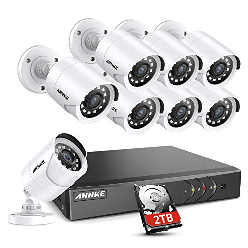 ANNKE Security Camera System, 16 Channel 5-in-1 HD DVR Video Recorder (2TB Hard Drive), 8pcs 1080P Outdoor Home Surveillance Cameras, CCTV Kits for Easy Remote Monitoring