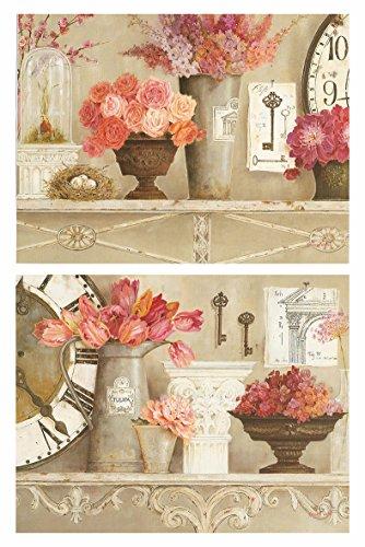 Cuadros Vintage Motivo Floral Tonos Rosa y Pastel Set de 2 Unidades de 19 cm x 25 cm x 4 mm unid. Adhesivo FÁCIL COLGADO. Adorno Decorativo. Decoracion Pared hogar