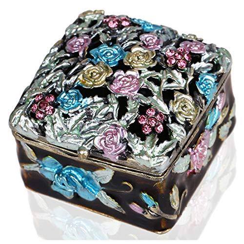 H&D, portagioie da viaggio per anelli, orecchini, collane, per ragazze e Metallo di base placcato al rodio , colore: Flower, cod. GS1607570
