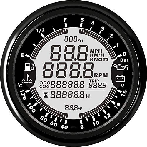 CAIZHIXIANG 85 mm 6 en 1 Multi-Funcional automática de medidores GPS Velocímetro Tacómetro de Nivel de Combustible Agua voltímetro Presión Temperatura del Aceite 5bar