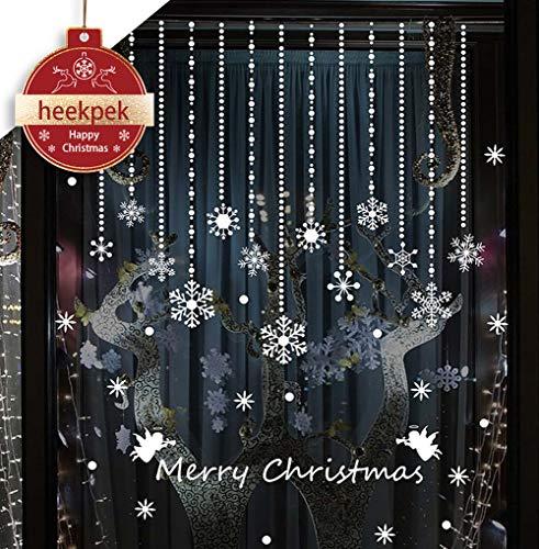 Heekpek® Natale Vetrofanie Display Rimovibile Adesivi Murali Fai da te Finestra Decorazione Vetrina Wallpaper Focco di Neve (B)