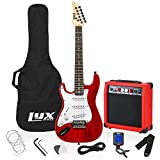 LyxPro Left Hand 36 Inch Electric Guitar and Kit for Lefty Kids with 3/4 Size Beginner's Guitar, Amp, Six Strings, Two Picks, Shoulder Strap, Digital Clip On Tuner, Cable and Soft Case Gig Bag - Red
