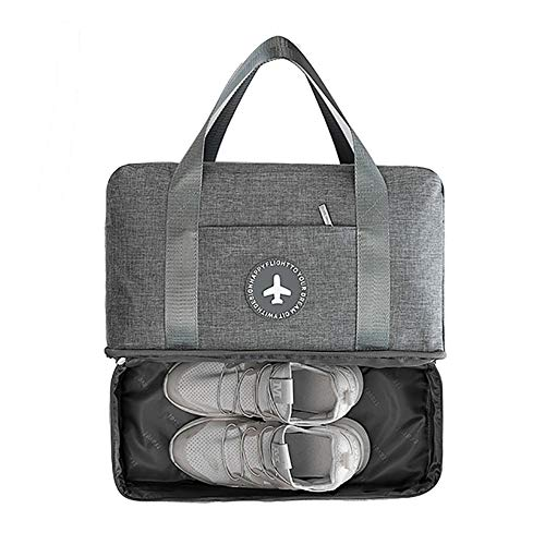 ZoSiP Golf Duffle Bag Sports Fitness Bag Golf Sports Gym Bag with Shoes Compartment and Wet Pocket Waterproof Duffel Bag Overnight Bag for Men Women (Color : Gray, Size : 39x18x30cm)