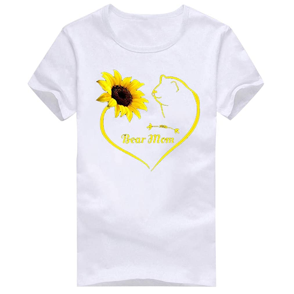 Shusuen Monther's Day T Shirts Womens Funny Letter Print Tees Casual Loose Short Sleeve Sunflower Graphic Shirts Tops