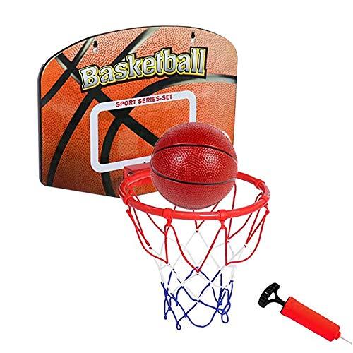 MHCYKJ Aro de baloncesto colgante para interiores y niños, sobre la puerta, tablero y soporte de pared, juego para sala de estar, oficina, niños y adultos (color: 2 bolas, tamaño: S)