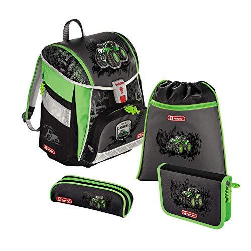 """Step by Step Schulranzen-Set TOUCH 2 """"Green Tractor"""" 4-teilig, grün-schwarz, Traktoren-Design, ergonomischer Tornister mit Reflektoren, höhenverstellbar mit Hüftgurt für Jungen ab der 1 Klasse, 21L"""