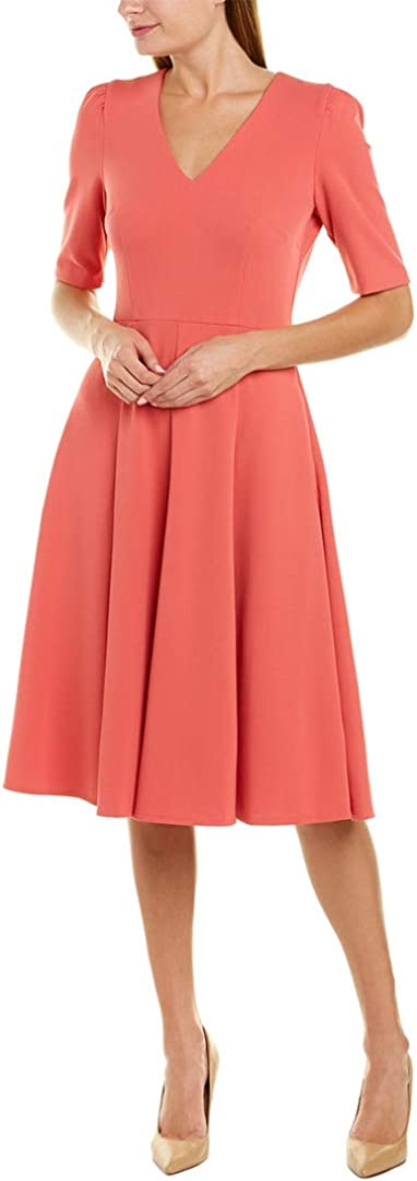 Donna Morgan Women's Stretch Crepe V-Neck Fit and Flare Dress