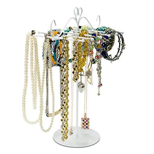 LAUBLUST Schmuckständer im Ornament Herzen Design - ca. 31 x 22 x 14 cm, Weiß - Dekorativer Metall Schmuck-Halter mit Herz Verzierung | Schmuck-Aufbewahrung | Armband-Ständer | Ketten-Halter