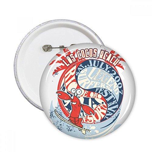 DIYthinker World Beach Lobster Marine Organisme Ronde pinnen Badge Knop Kleding Decoratie 5 stks Gift XL Multi kleuren