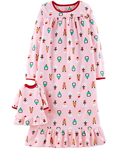Carter's Girls Microfleece Nightgown and Doll Gown (3T, Pink Christmas)
