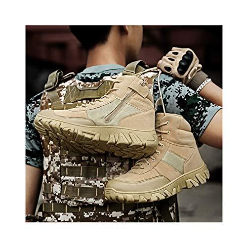 Botas Tácticas De Montañismo Botas Militares De Combate Hombres Ejército Caza Trekking Camping Zapatos Zapatos De Trabajo De Invierno,Beige-43