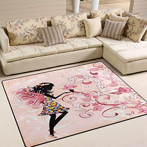 Use7 Joli tapis imprimé papillon et fleurs pour salon, chambre à coucher, 160 x 122 cm